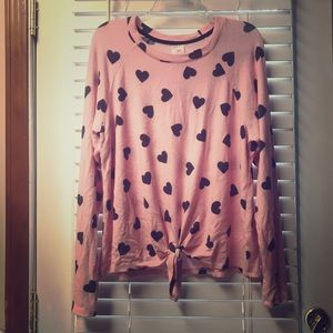 Pink and Grey fuzzy hearts sweater